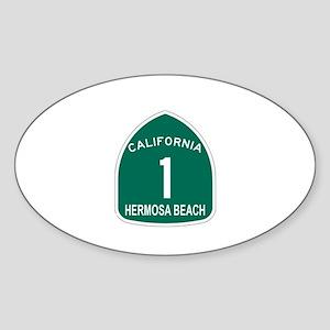 Hermosa Beach, California Hig Oval Sticker