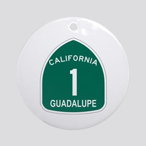 Guadalupe, California Highway Ornament (Round)