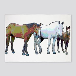 Horse family 5'x7'Area Rug