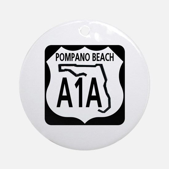 A1A Pompano Beach Ornament (Round)