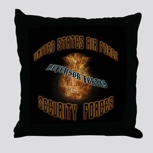 Security Forces Flame Badge Throw Pillow