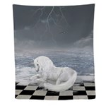 Unicorn In Surreal Seascape Wall Tapestry