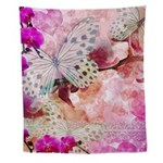 Orchids And Butterflies Wall Tapestry