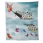 Butterfly Wheelbarrow Wall Tapestry