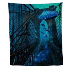 Bridge And Sharks Wall Tapestry