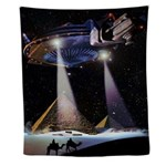 Ufo Over Pyramids Wall Tapestry