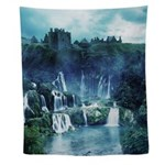 Gothic Ruin Waterfall Wall Tapestry