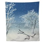 Magpie Winter Landscape Wall Tapestry