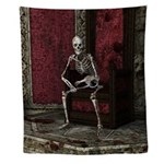 Gothic Waiting Skeleton Wall Tapestry