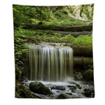 Green Forest Waterfall Wall Tapestry