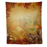 Thanksgiving Squirrel Wall Tapestry