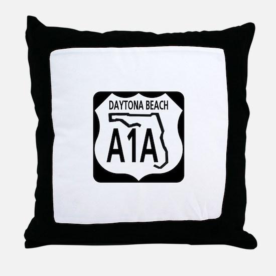 A1A Daytona Beach Throw Pillow