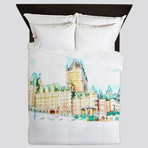 Chateau Frontenac watercolor Queen Duvet