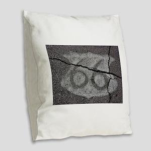 Route 66 Shield Burlap Throw Pillow