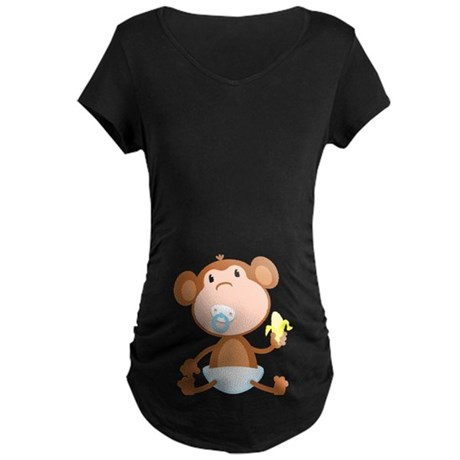 Pacifier Monkey Maternity Dark T-Shirt