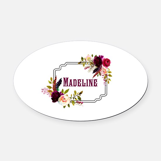 Personalized Floral Wreath Monogram Oval Car Magne