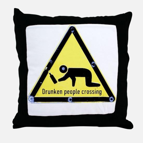 Cute Drunk people crossing Throw Pillow