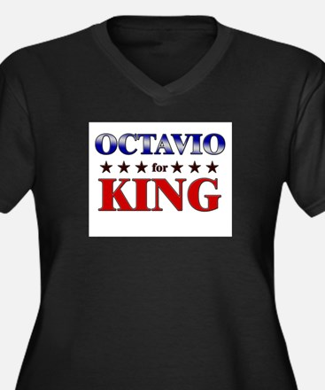 OCTAVIO for king Women's Plus Size V-Neck Dark T-S