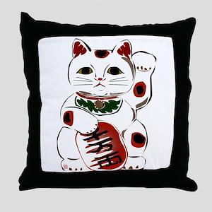 White Maneki Neko Throw Pillow