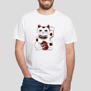 White Maneki Neko White T-Shirt