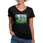 Bridge / Keeshond Women's V-Neck Dark T-Shirt