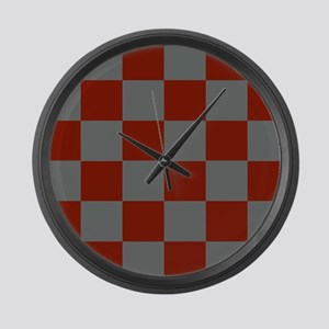 Funky Gray Burgundy Blocks Large Wall Clock