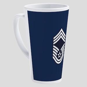 USAF: CMSgt E-9 (Blue) 17 oz Latte Mug