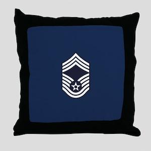 USAF: CMSgt E-9 (Blue) Throw Pillow