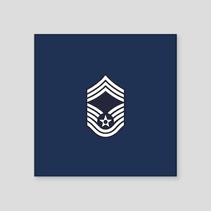 """USAF: CMSgt E-9 (Blue) Square Sticker 3"""" x 3"""""""