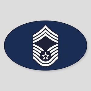 USAF: CMSgt E-9 (Blue) Sticker (Oval)
