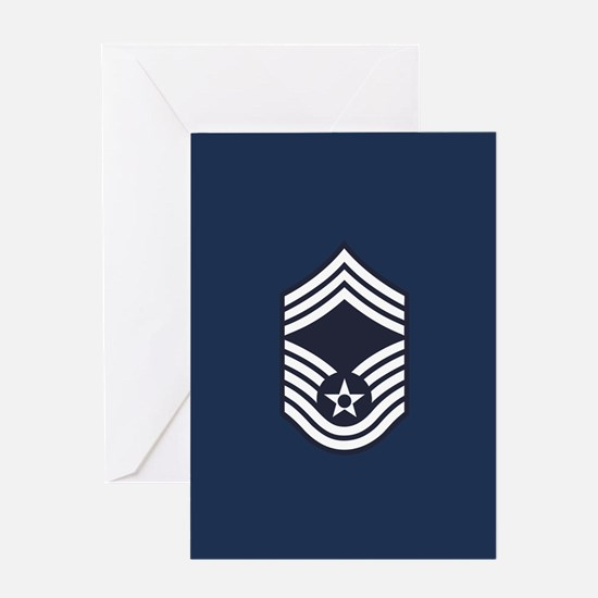 USAF: CMSgt E-9 (Blue) Greeting Card