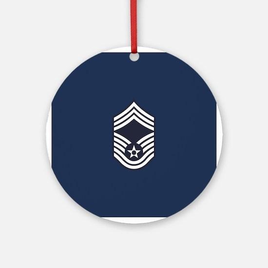 USAF: CMSgt E-9 (Blue) Round Ornament