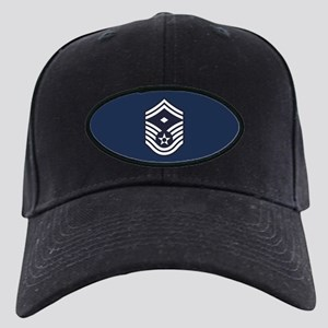 USAF: SMSgt E-8 (Blue) Black Cap with Patch