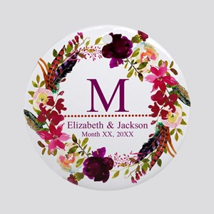 Boho Wreath Wedding Monogram Round Ornament