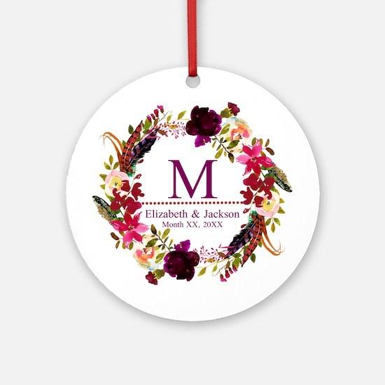Boho Wreath Wedding Monogram Round Ornament