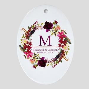 Boho Wreath Wedding Monogram Oval Ornament