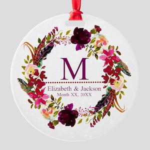 Boho Wreath Wedding Monogram Ornament