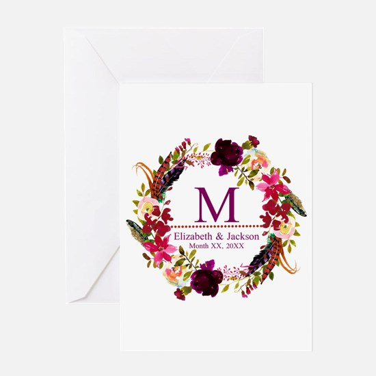 Boho Wreath Wedding Monogram Greeting Cards