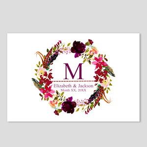 Boho Wreath Wedding Monogram Postcards (Package of