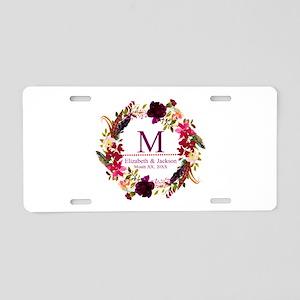 Boho Wreath Wedding Monogram Aluminum License Plat