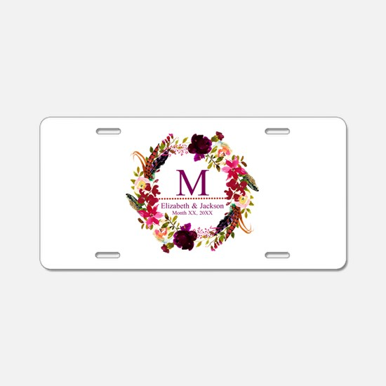Boho Wreath Wedding Monogram Aluminum License Plat