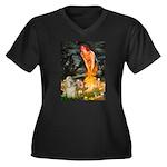Midsummer / Cocker Spaniel Women's Plus Size V-Nec