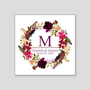 Boho Wreath Wedding Monogram Sticker