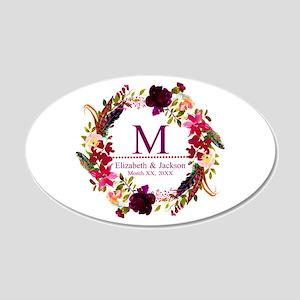 Boho Wreath Wedding Monogram Wall Decal