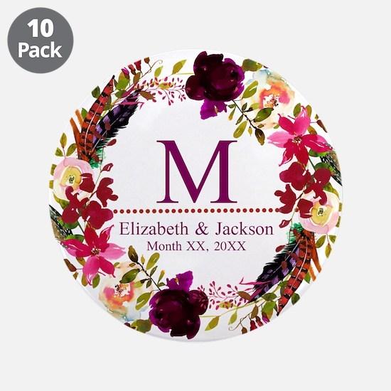 "Boho Wreath Wedding Monogram 3.5"" Button (10 pack)"