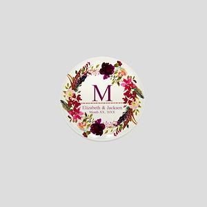 Boho Wreath Wedding Monogram Mini Button (10 pack)