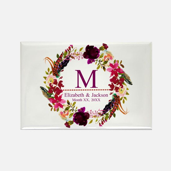 Boho Wreath Wedding Monogram Magnets