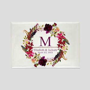 Boho Wreath Wedding Monogram Magnets