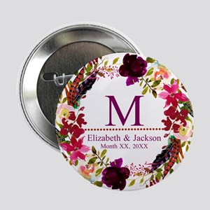 "Boho Wreath Wedding Monogram 2.25"" Button (10 pack"