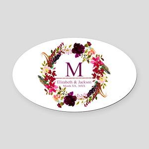 Boho Wreath Wedding Monogram Oval Car Magnet